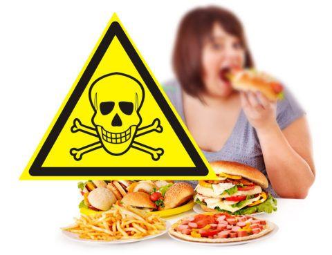 Фаст фуд – причина избыточного веса и сердечных заболеваний.