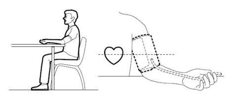 Процедура измерения давления происходит в положении сидя.