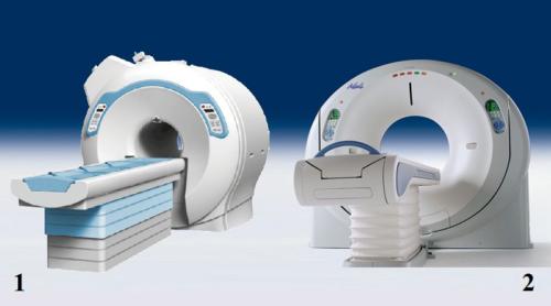 Магниторезонансный (1) и компьютерный (2) томографы