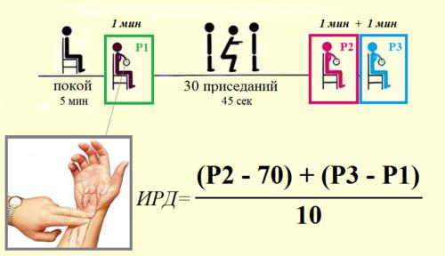 Схема нагрузочной процедуры и формула для подсчета Индекса Руфье–Диксона